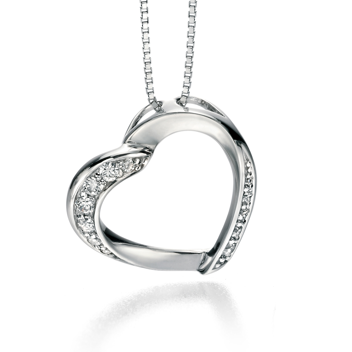 Fiorelli silver and clear cz ribbon heart pendant necklace crocketts home shop jewellery necklaces fiorelli silver and clear cz ribbon heart pendant necklace mozeypictures Gallery